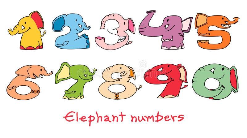 Los números del elefante fijaron 1: 1 - 0 stock de ilustración