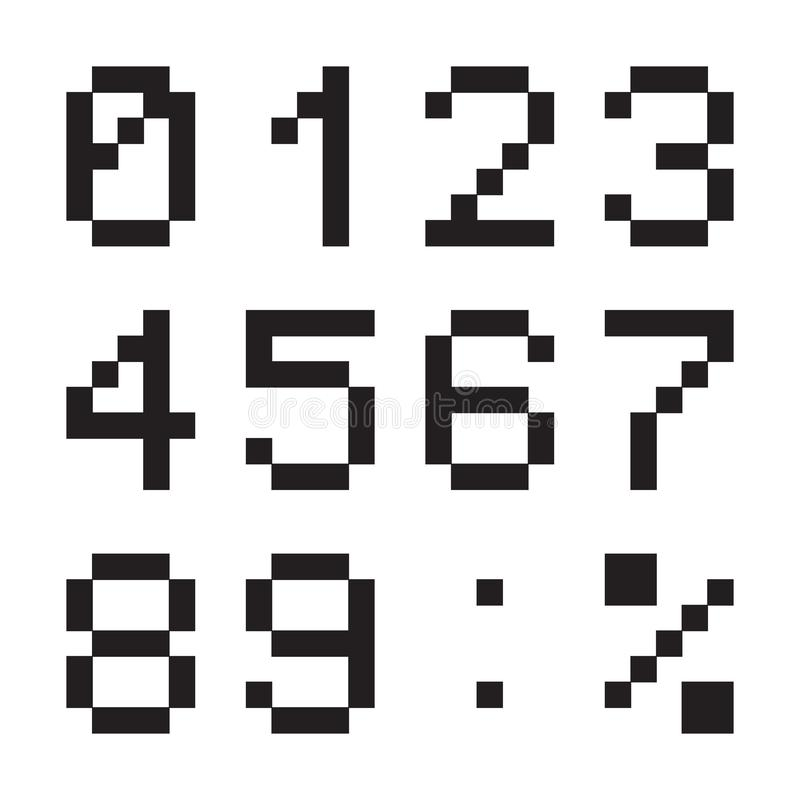 Los números digitales de la calculadora, tabla terminal llevaron la fuente, negro aislada en el fondo blanco, ejemplo del vector libre illustration