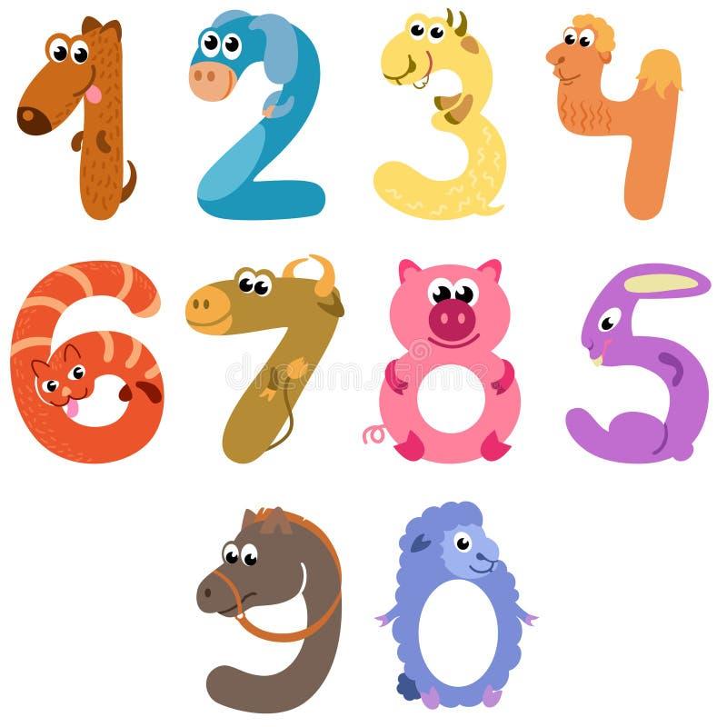 Los números les gusta animales del campo libre illustration