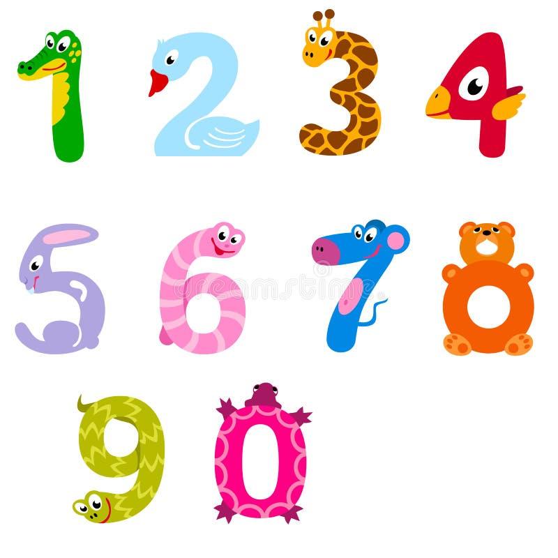 Los números les gusta animales nacionales y salvajes ilustración del vector