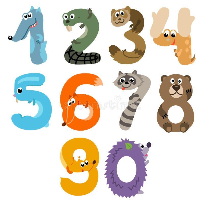 Los números les gusta el europeo Forest Animals ilustración del vector