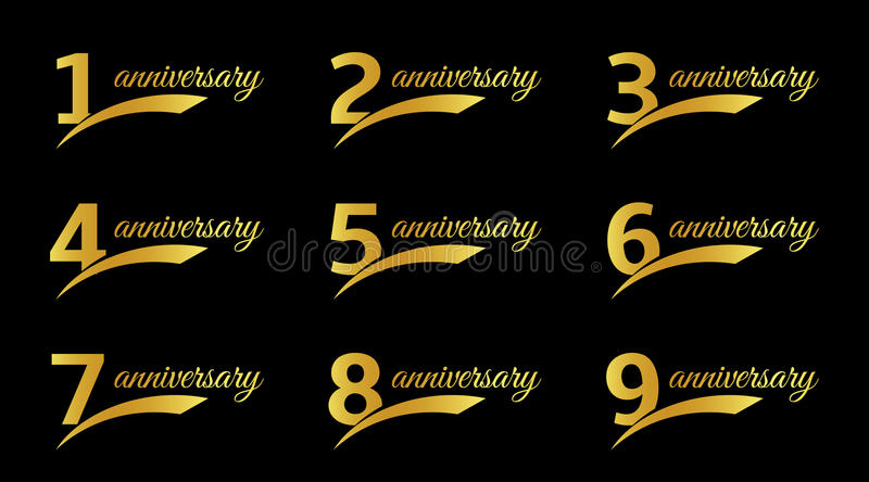 Los números negros aislados del color con los iconos del aniversario de la palabra fijaron, los ejemplos del vector de la colecci stock de ilustración