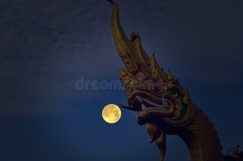 Los naga hermosos dirigen noche de la escultura y de la Luna Llena fotos de archivo libres de regalías