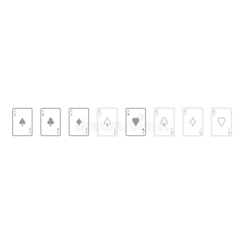 Los naipes es icono negro stock de ilustración