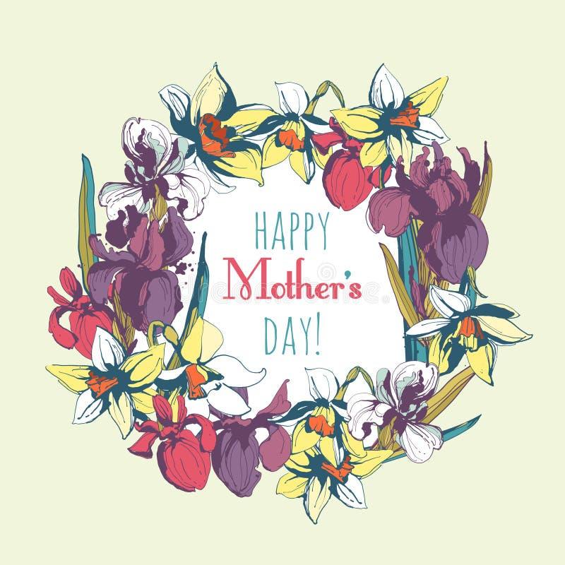 Los narcisos florales de la flor irisan el marco dibujado mano del vintage para feliz ilustración del vector