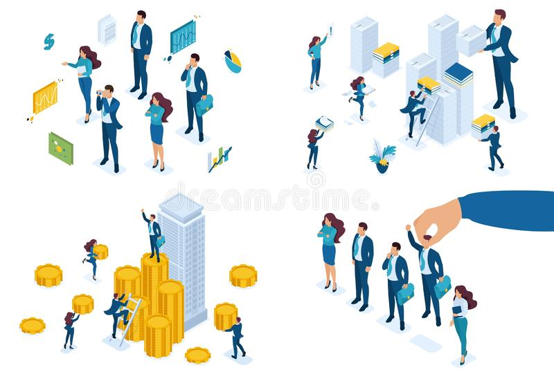 Los negocios isométricos fijados del concepto contratan a gente, construyen un negocio, hacen una carrera, manejan cuentas Para c libre illustration