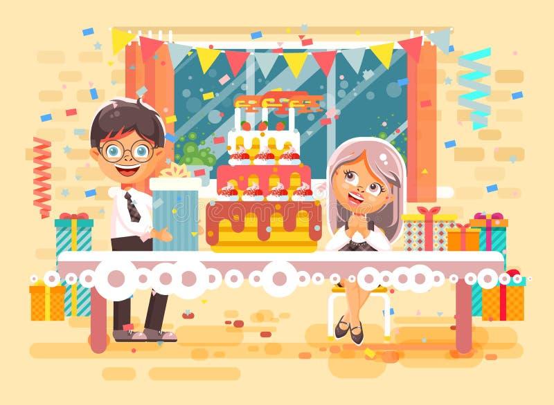 Los niños, los amigos, los alumnos muchacho y la muchacha del personaje de dibujos animados del ejemplo del vector celebran feliz ilustración del vector