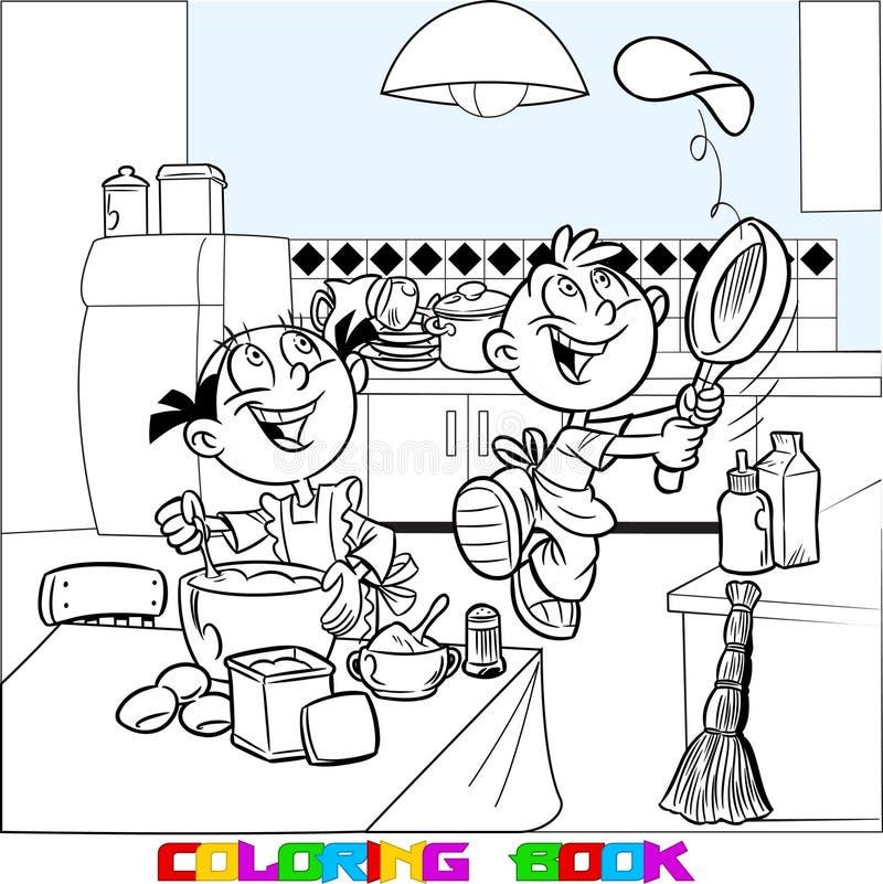 Los niños aprenden cocinar libre illustration