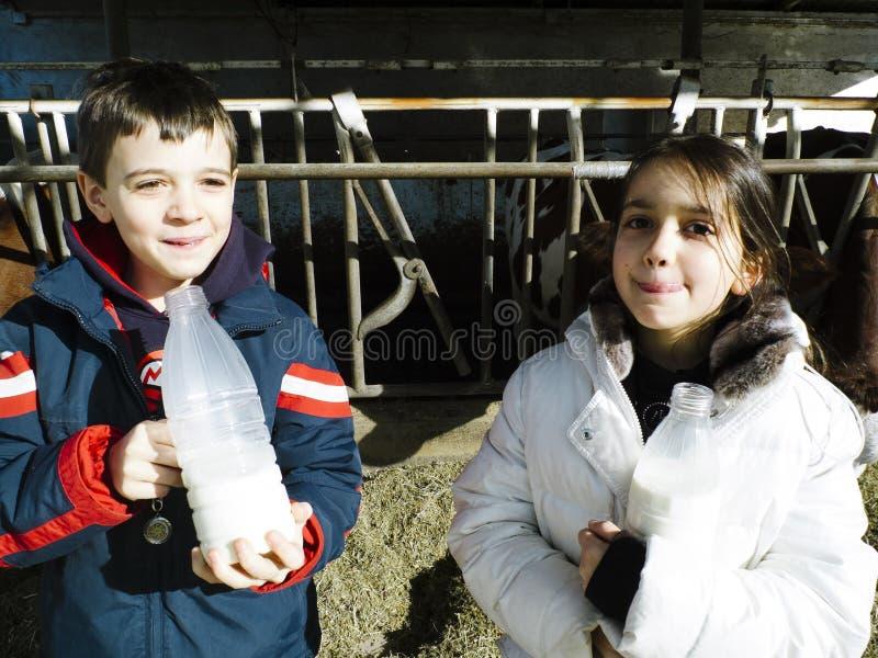 Los niños beben la leche fresca, de las botellas en una granja, detrás del th fotos de archivo
