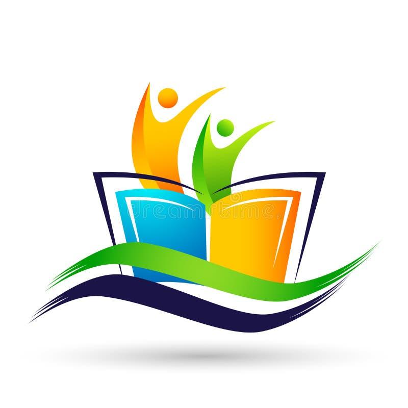 Los niños brillantes de los niños del logotipo de la educación del mundo del globo enseñan el icono de los niños de los libros stock de ilustración