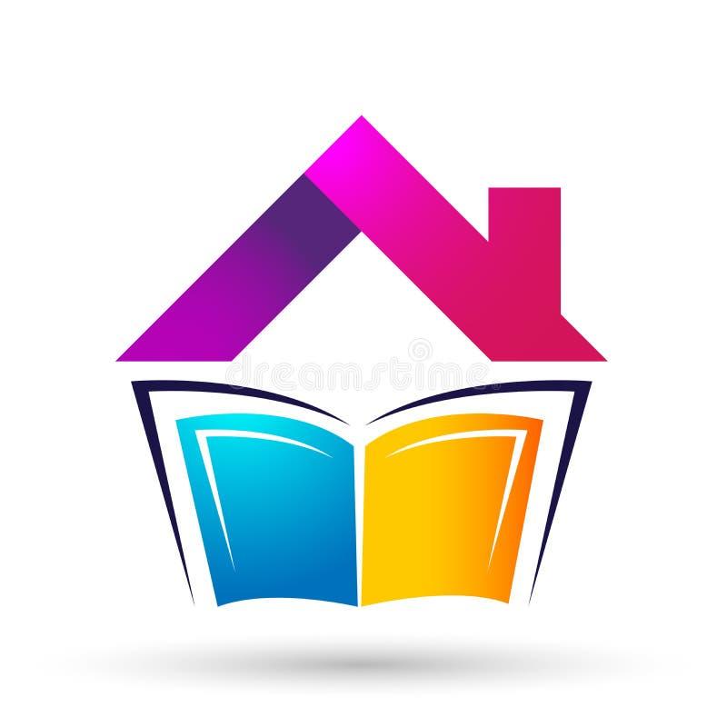 Los niños brillantes del logotipo del tejado de la casa del hogar de la librería de la educación del mundo del globo enseñan el i stock de ilustración