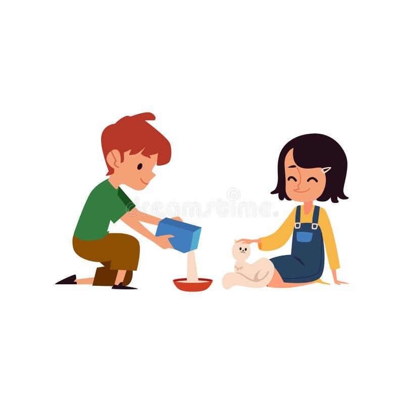 Los niños buenos que alimentan un gato blanco perdido, un muchacho lindo de la historieta y a una muchacha vierten la comida en e libre illustration