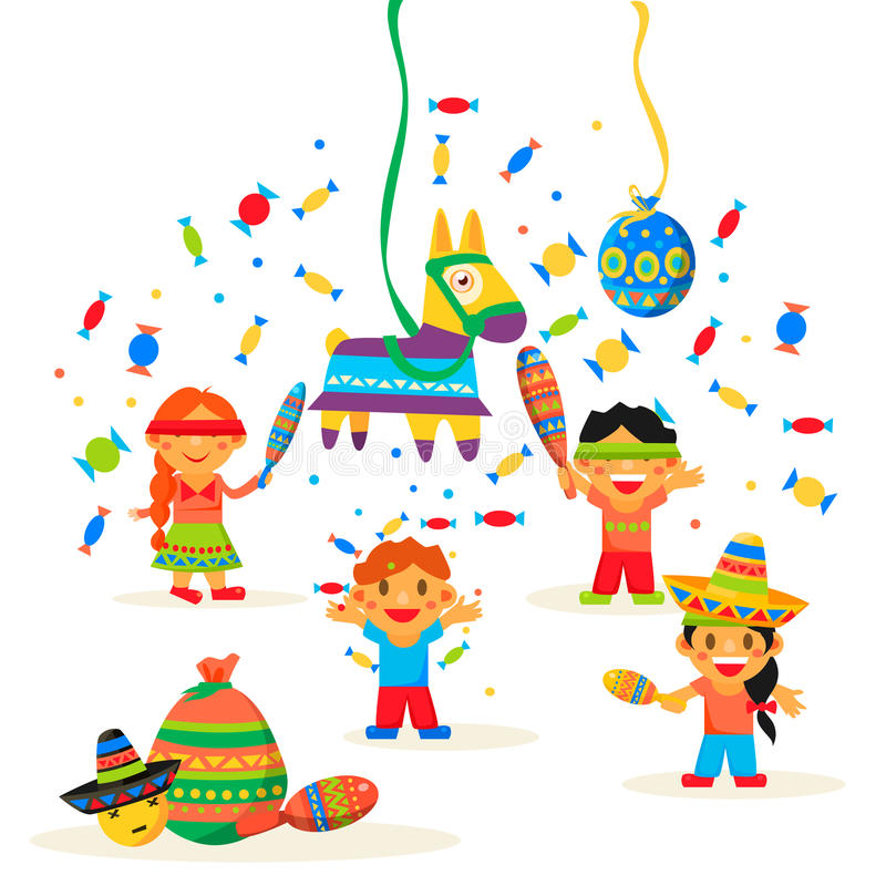 Los niños celebran a Posada, rompiéndose libre illustration