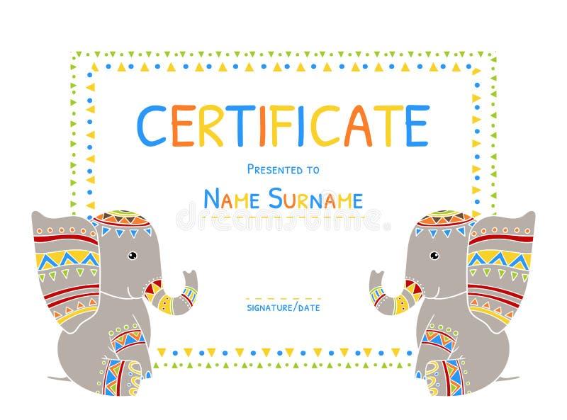 Los niños certifican Tamplate, ejemplo preescolar del vector del diploma de la escuela primaria stock de ilustración