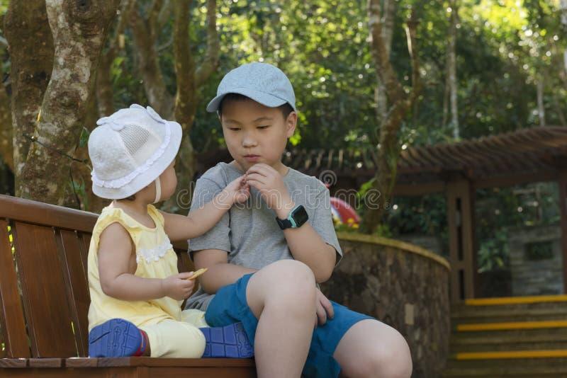 Los ni?os chinos comparten la galleta en parque imagen de archivo