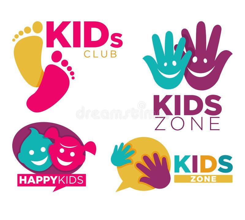 Los niños colocan con el ejemplo plano aislado fijado los emblemas promocionales brillantes del vector de la historieta de los en stock de ilustración