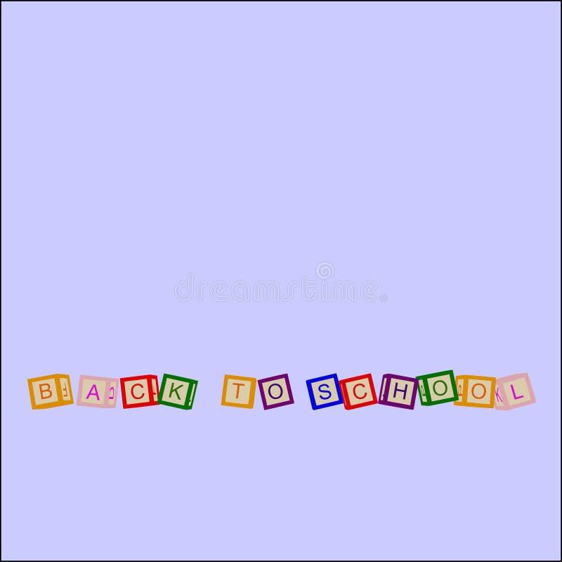 Los niños colorean los cubos con las letras De nuevo a escuela Vector stock de ilustración