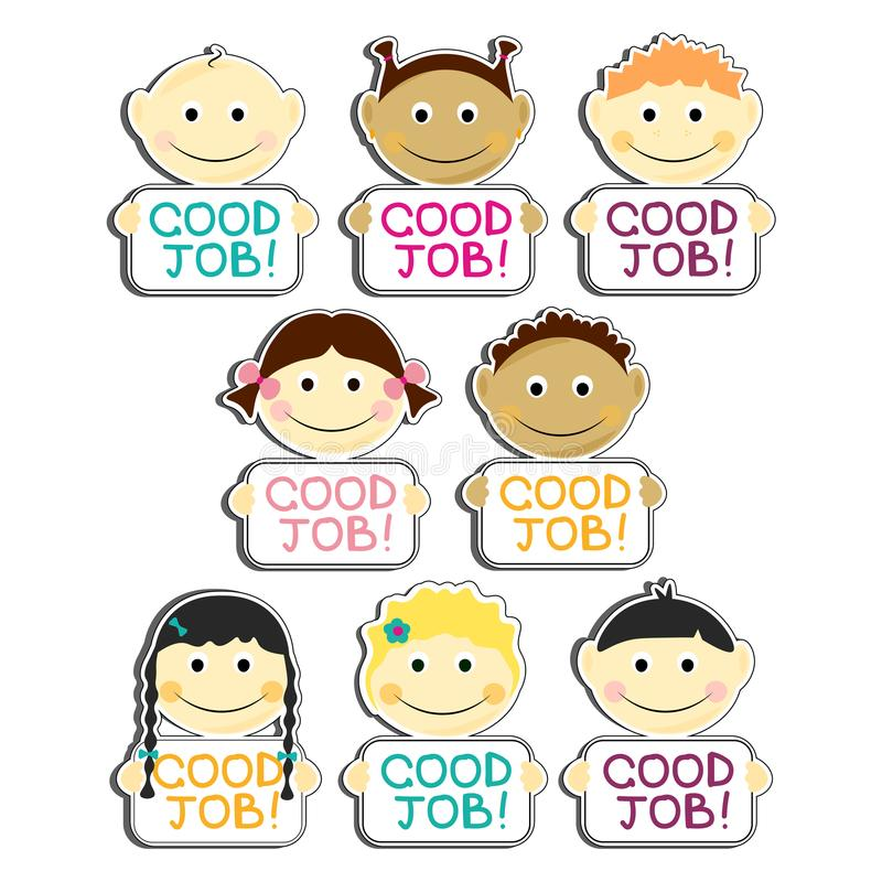 Los niños con las buenas placas de la etiqueta del trabajo fijaron el ejemplo del vector Retratos con sonrisa y el diverso peinad ilustración del vector