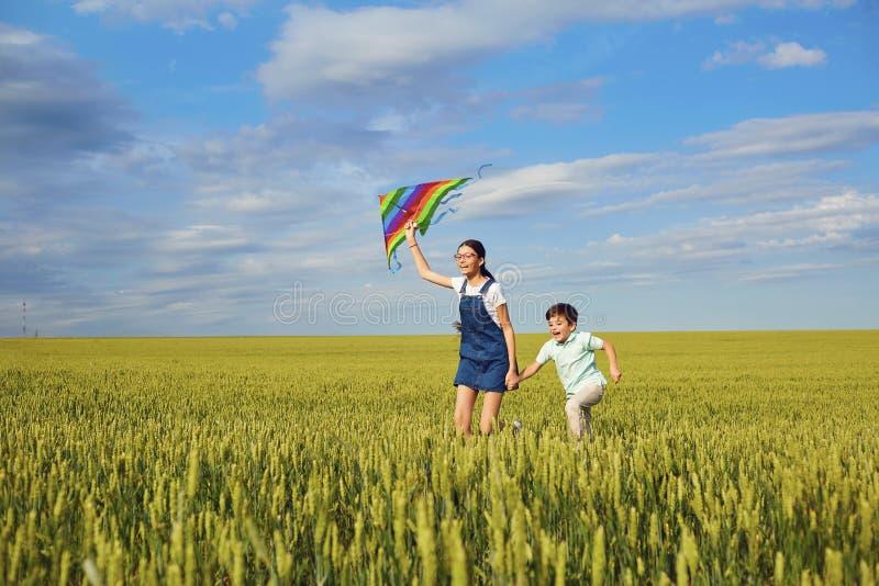Los niños con una cometa corren a través del campo de trigo en el verano C imágenes de archivo libres de regalías