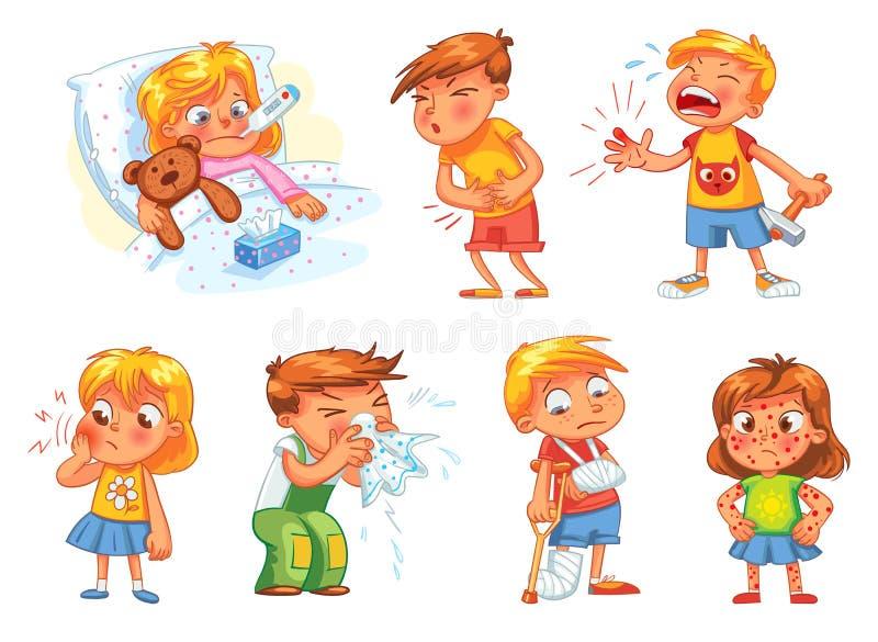 Los niños consiguen enfermos Aislado en el fondo blanco libre illustration