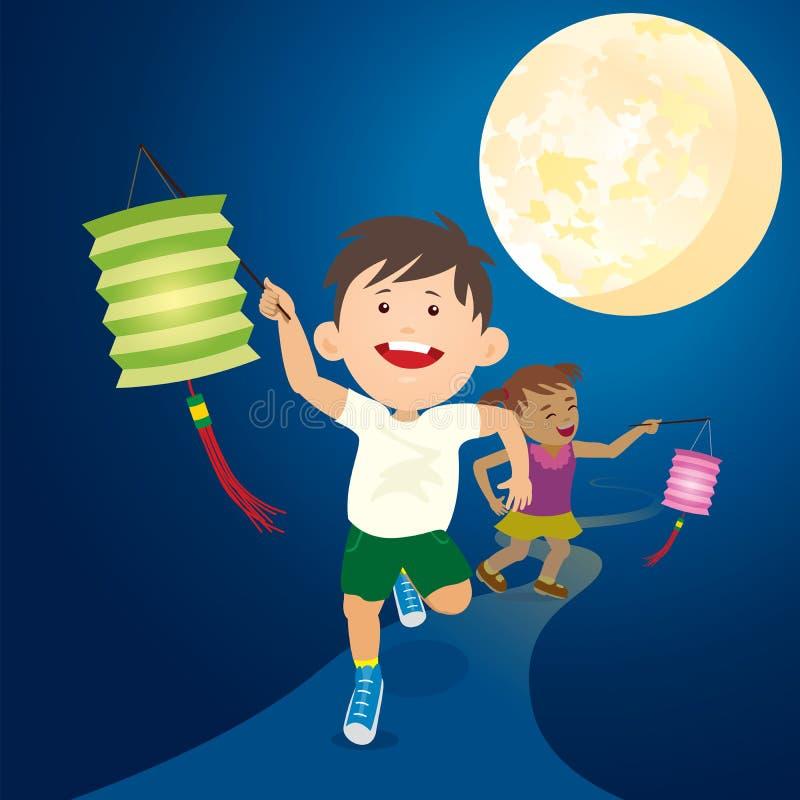 Los niños corrientes sostienen la linterna de papel debajo de la Luna Llena ilustración del vector