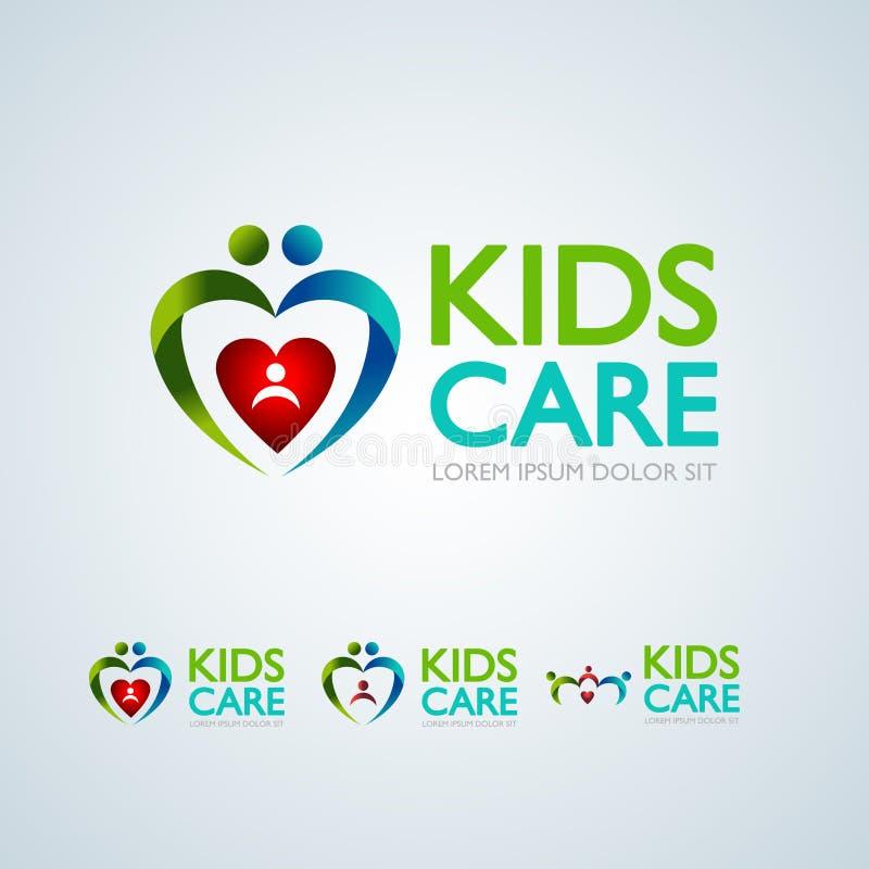 Los niños cuidan el logotipo, el logotipo abstracto circular del icono, de la madre y del bebé del niño de la protección del conc libre illustration