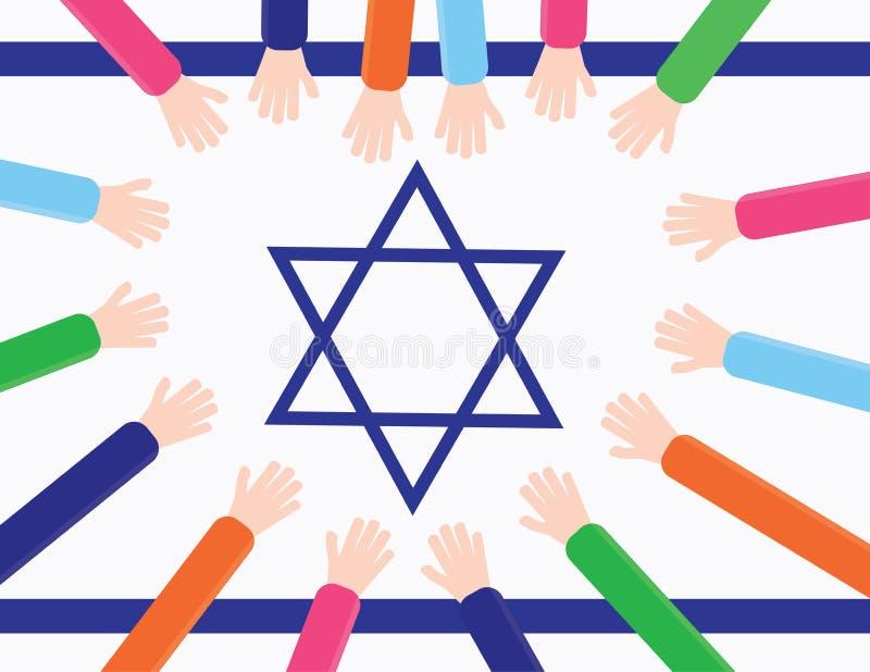 Los niños dan crear una forma del corazón en una bandera de Israel stock de ilustración