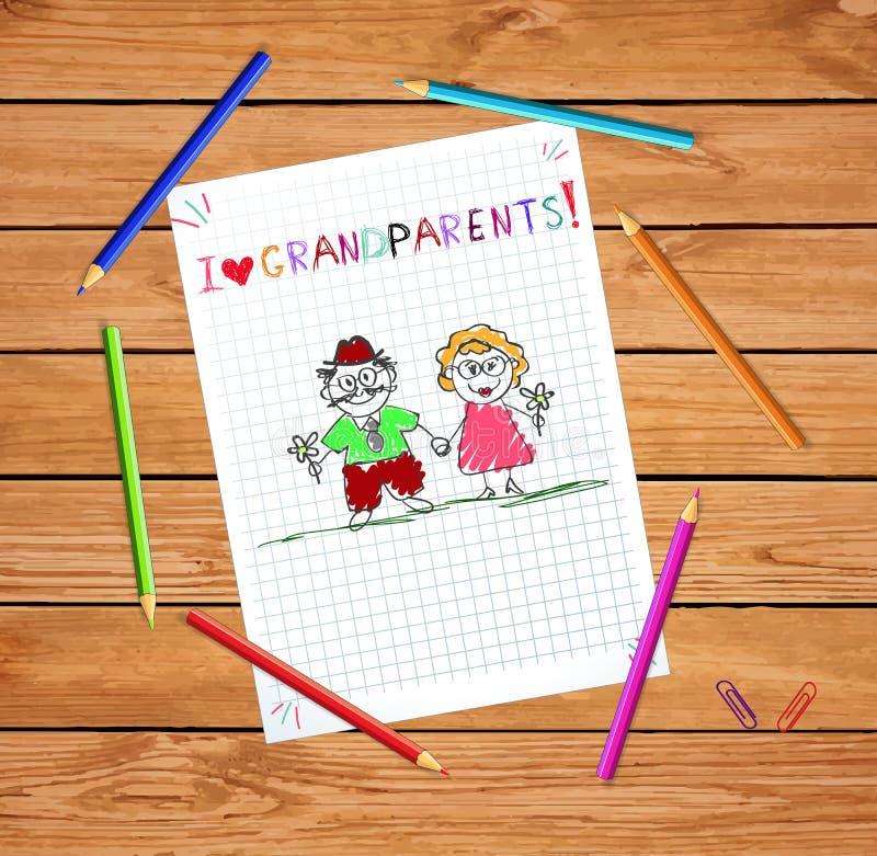 Los niños dan la tarjeta de felicitación exhausta con el abuelo y la abuela juntos ilustración del vector
