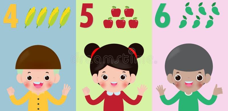 Los niños dan mostrar al número cuatro cinco seis, niños que muestran a números 4 5 6 por los fingeres Concepto de la educación,  stock de ilustración