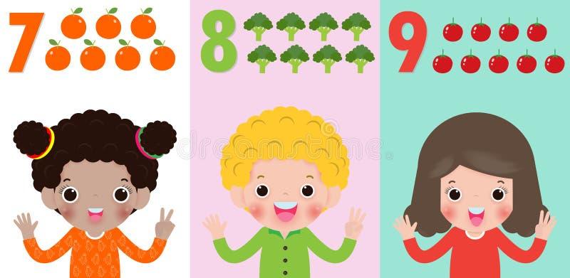 Los niños dan mostrar el número siete, ocho, nueve, niños que muestran los números 7,8,9 por los fingeres Concepto de la educació ilustración del vector