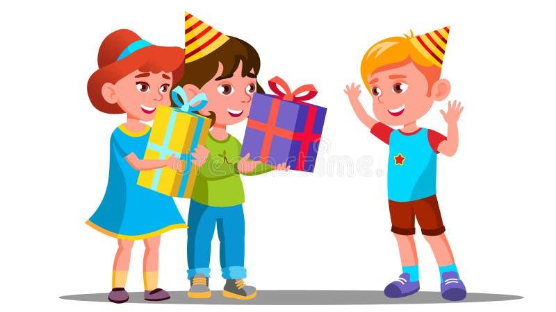Los niños dan los regalos de cumpleaños a un vector del amigo Ilustración aislada stock de ilustración