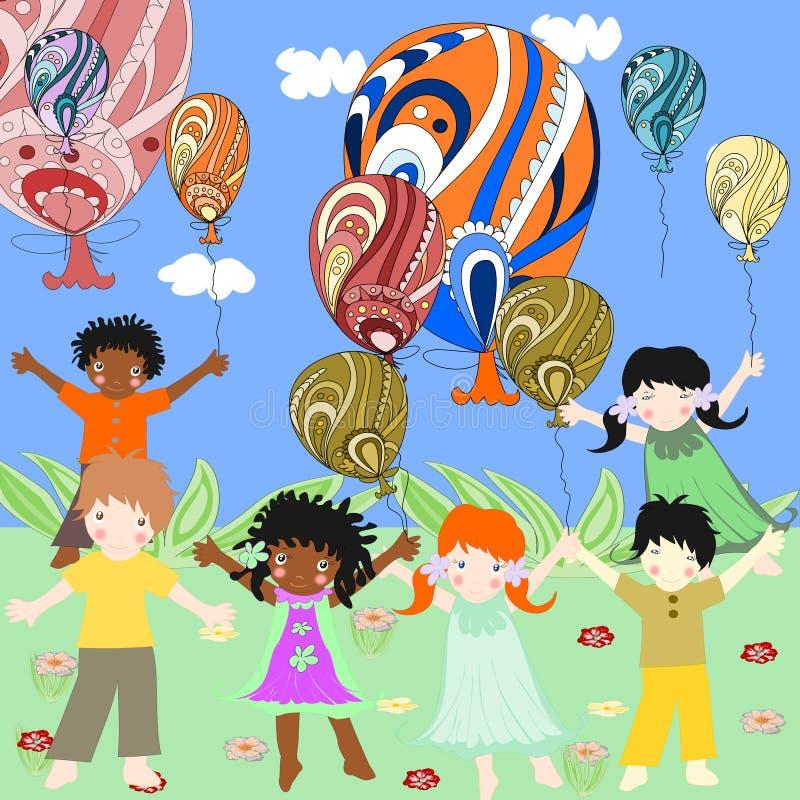 Los niños de diversas razas son interesantes y globos stock de ilustración