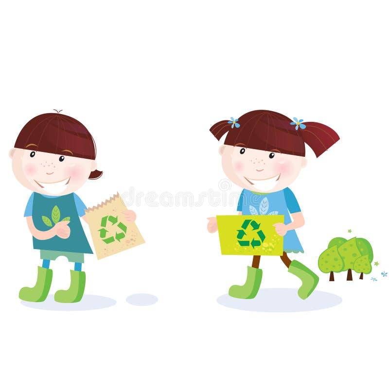 Los niños de escuela con reciclan símbolo stock de ilustración