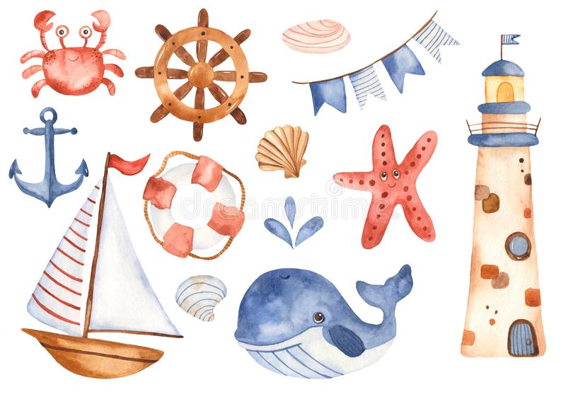Los niños de la acuarela fijaron el velero lindo de la historieta, faro, ballena stock de ilustración