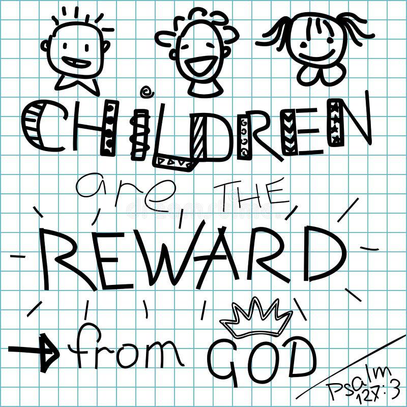 Los niños de la biblia de las letras son una recompensa de dios en un fondo a cuadros stock de ilustración