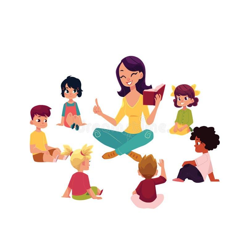 Los niños de la guardería escuchan el profesor que lee un libro stock de ilustración