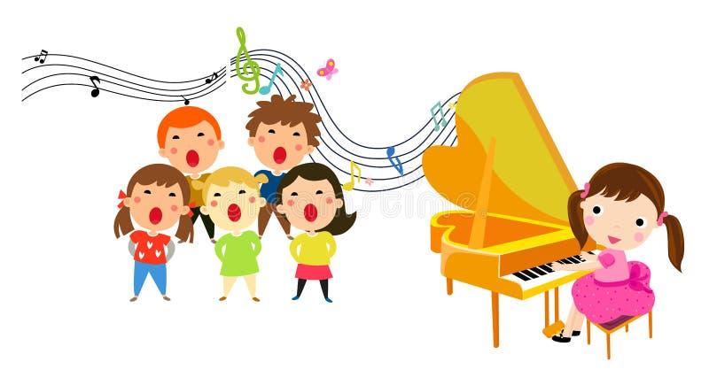 Los niños de la presentación de la música stock de ilustración