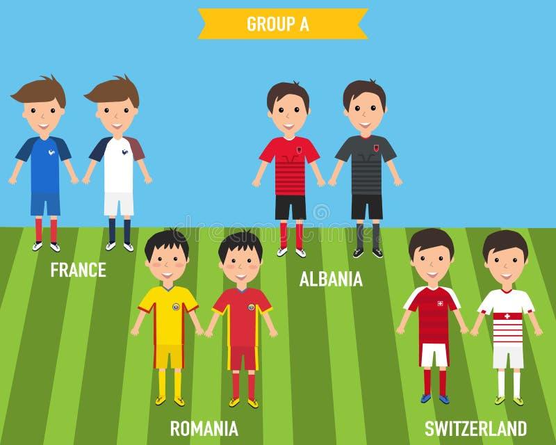 Los niños de los niños en hogar y jersey ausente uniforman en el EURO 201 de Francia ilustración del vector