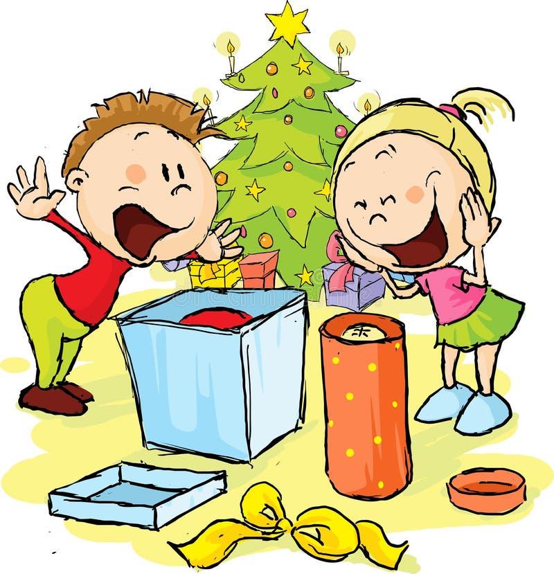 Los niños debajo del árbol de navidad desempaquetan los regalos libre illustration