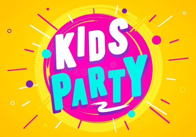 Los niños del ejemplo del vector van de fiesta la plantilla del diseño gráfico Bandera para la zona de la sala de juegos o del ju stock de ilustración