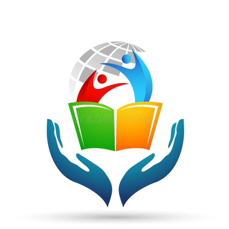 Los niños del logotipo de las manos del cuidado de la educación del mundo del globo enseñan el icono de los niños de los libros stock de ilustración