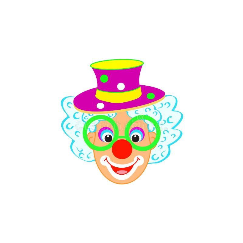 Los niños divertidos del cumpleaños del carnaval de la máscara del payaso van de fiesta el carácter del payaso aislado stock de ilustración