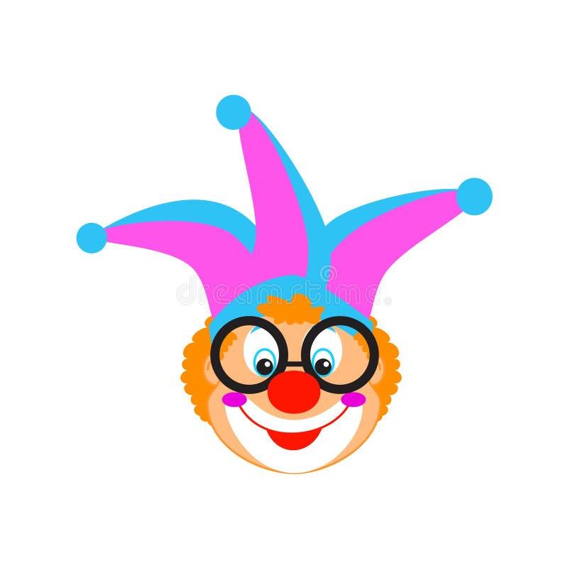 Los niños divertidos del cumpleaños del carnaval de la máscara del payaso van de fiesta el carácter del payaso aislado libre illustration