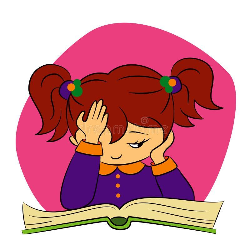 Los niños en colegiala están intentando leer ilustración del vector