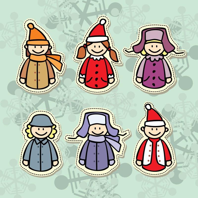 Los niños en invierno visten el icono libre illustration