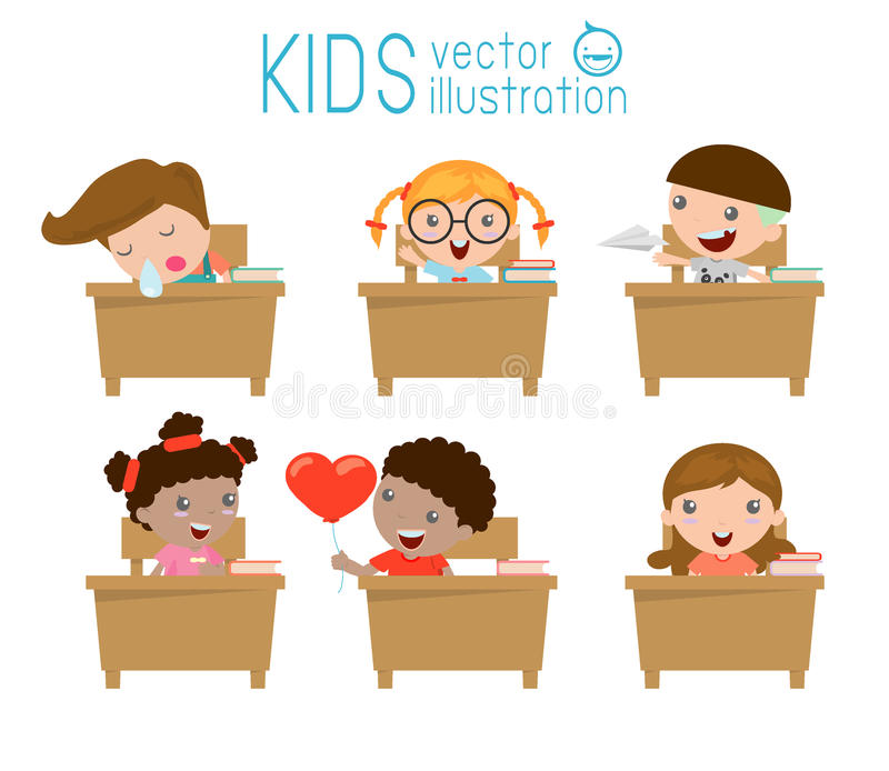 Los niños en la sala de clase, niño en sala de clase, embroman estudiar en la sala de clase, ejemplo ilustración del vector