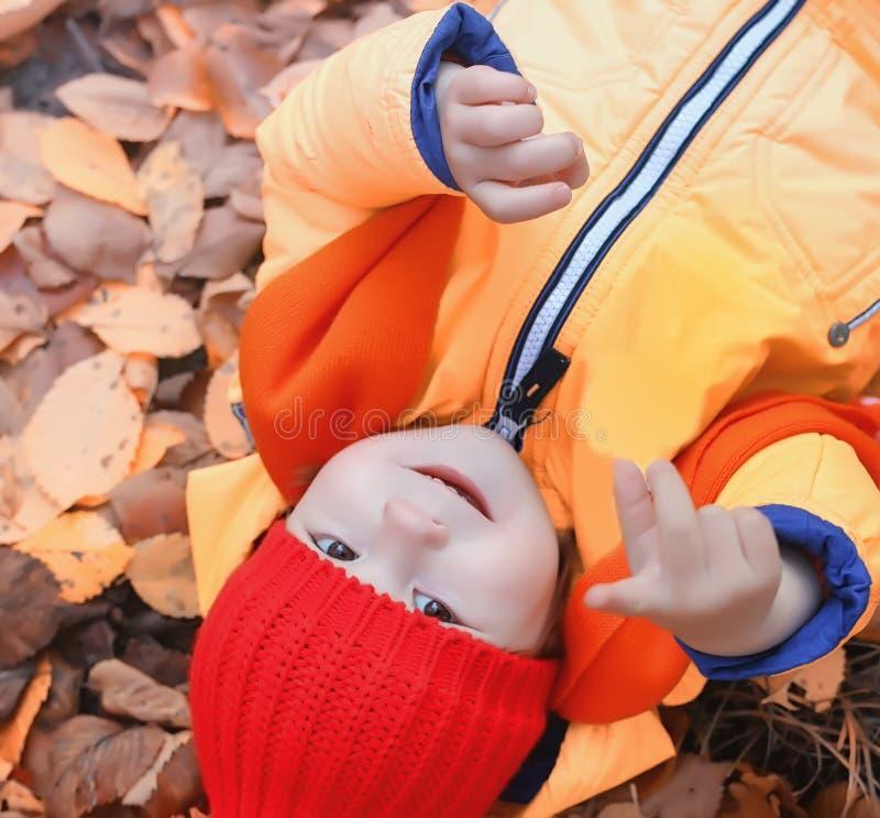 Los niños están caminando en naturaleza Los niños crepusculares están dando une vuelta imagen de archivo libre de regalías