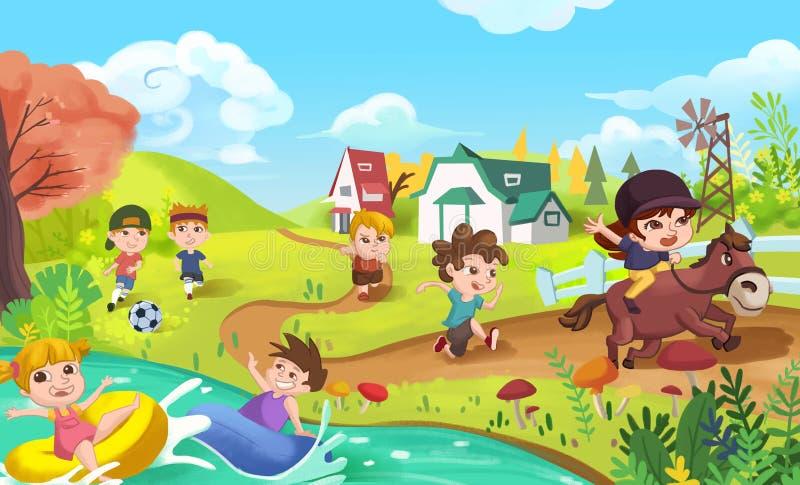 Los niños están haciendo deportes como jugar fútbol, la natación, el funcionamiento y el montar a caballo ilustración del vector