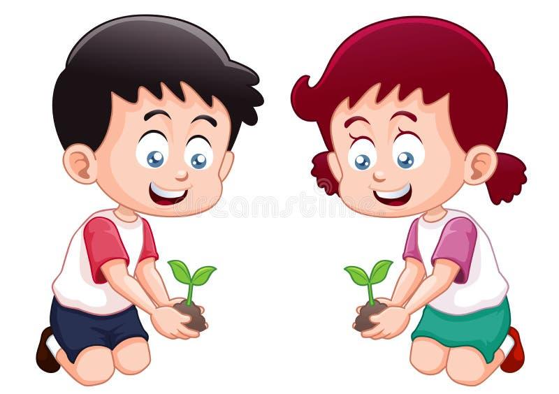 Los niños están plantando la pequeña planta stock de ilustración