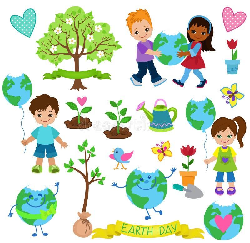 Los niños felices celebran Día de la Tierra Elementos de la ecología stock de ilustración